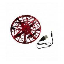 Mini drona EDAR® model OZN, disc zburator cu senzori infrarosu, rosu