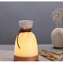 Umidificator ultrasunete EDAR® model saculet, difuzor aroma, 140 ml, alb/lemn natur