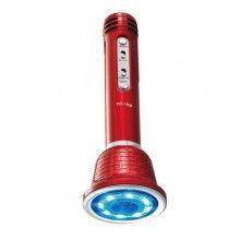 Microfon karaoke SIKS® disco, lumini led, boxa portabila, bluetooth, rosu